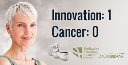 Image of a woman with writting to her right saying, Innovation 1, Cancer 0