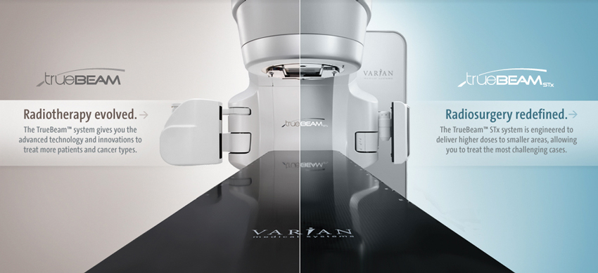 TrueBeam treatment Machine with the following text on the image - Radiotherapy evolved. The TrueBeam system gives you advanced technology and innovations to treat more patients and cancer types. radiosurgery redefined. The TrueBeam STx system is engineered to deliver higher doses to smaller areas, allowing you to treat the most challenging cases.